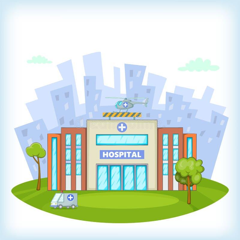 Het ziekenhuisconcept, beeldverhaalstijl vector illustratie