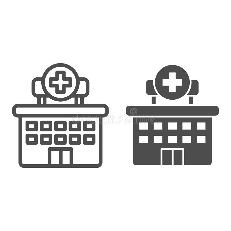 Het ziekenhuislijn en glyph pictogram Kliniek vectordieillustratie op wit wordt geïsoleerd De stijlontwerp van het de bouwoverzic stock illustratie
