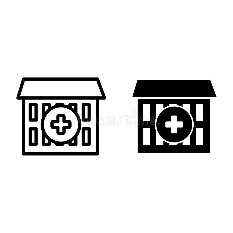 Het ziekenhuislijn en glyph pictogram Medisch centrum vectordieillustratie op wit wordt geïsoleerd De stijlontwerp van het klinie vector illustratie
