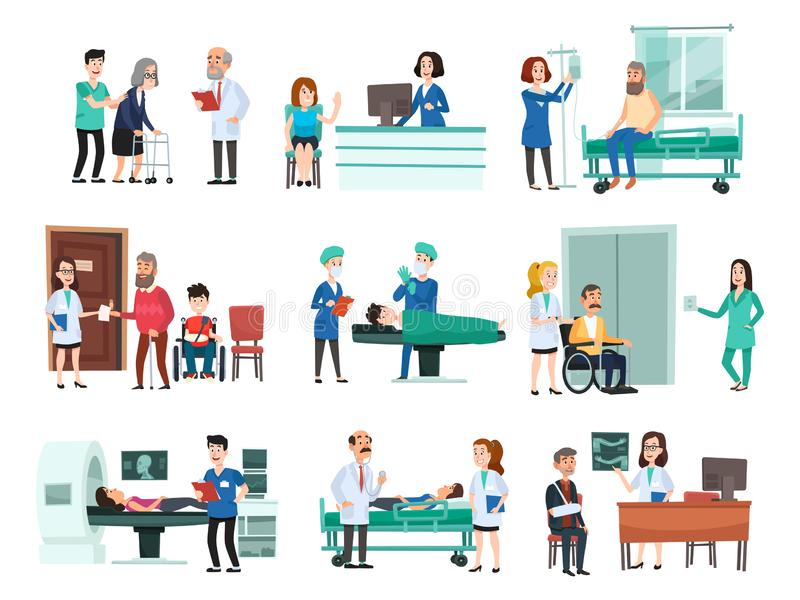 Het ziekenhuispatiënten De in het ziekenhuis opgenomen patiënt op de ziekenhuizenbed, verpleegster en de arts die zieken de helpe stock illustratie
