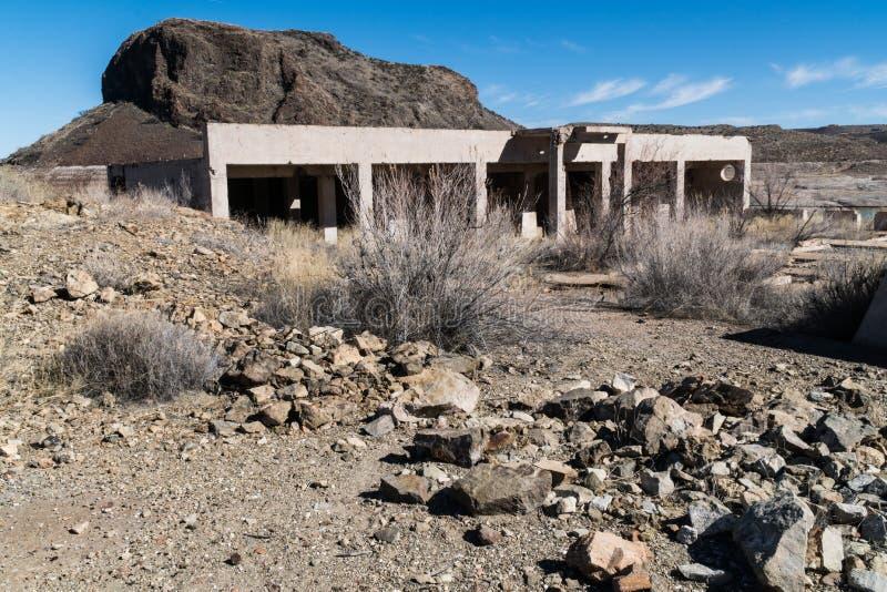 Het ziekenhuisruïnes, Olifantsbutte Meer, New Mexico stock afbeelding
