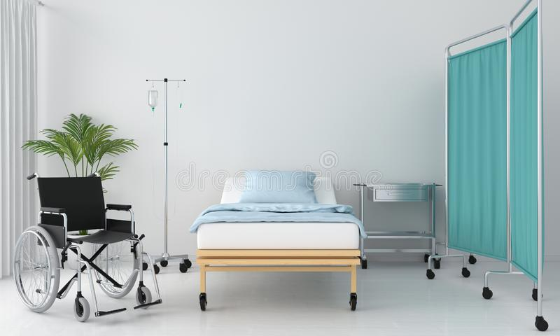 Het ziekenhuisruimte met bed en lijst, het 3D teruggeven vector illustratie