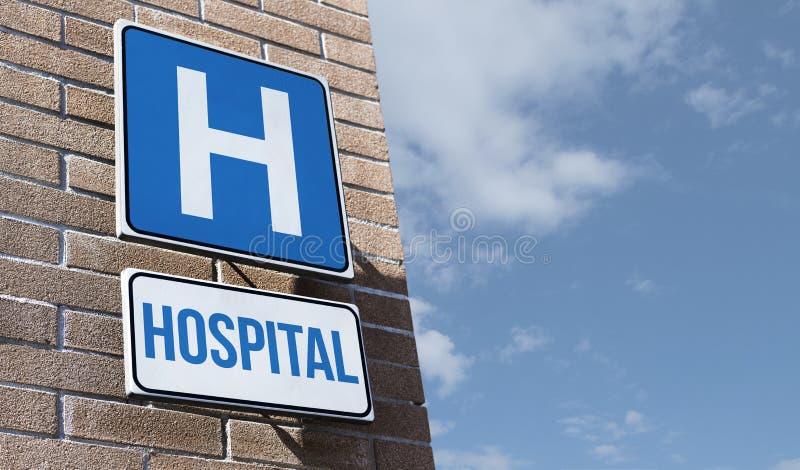 Het ziekenhuisverkeersteken op een muur royalty-vrije stock afbeelding