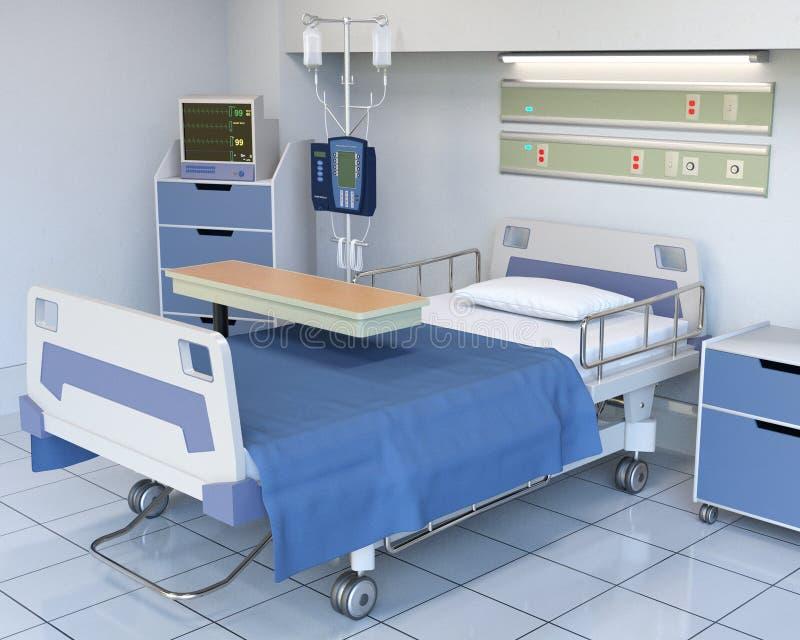 Het ziekenhuiszaal, Medisch Bed, Gezondheidszorg, Materiaal stock foto's