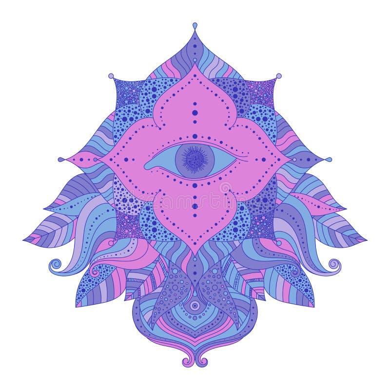 Het zien van oog in bloemenkader royalty-vrije illustratie