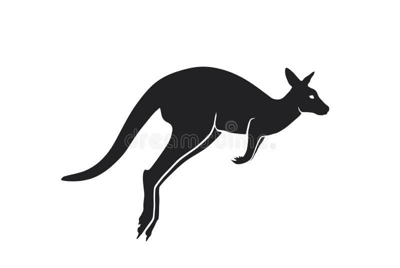 Het zijaanzicht van het kangoeroesilhouet geïsoleerd vectorbeeld van Australisch wild dier royalty-vrije illustratie