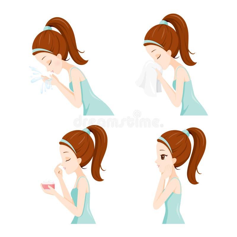Het Zijaanzicht van Meisje het Schoonmaken en geeft Haar Gezichtsreeks vector illustratie