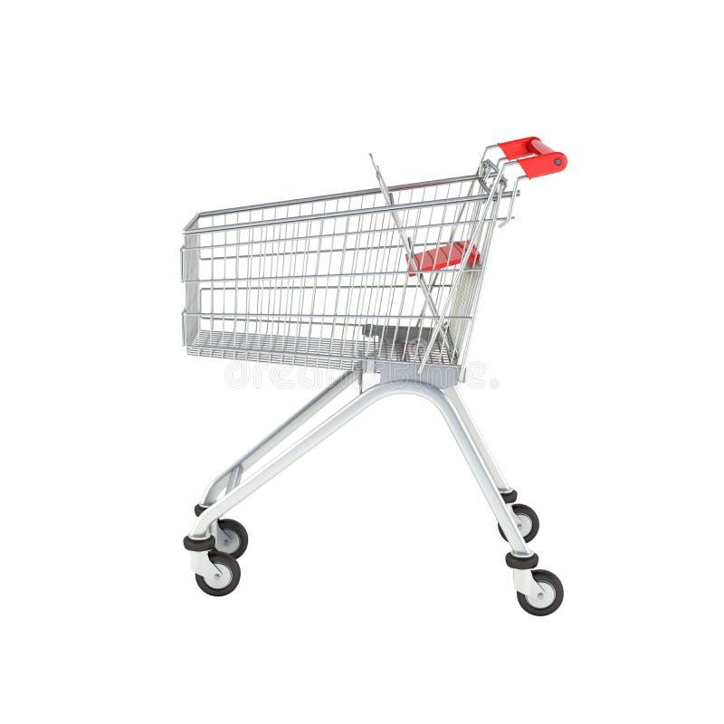 Het zijaanzicht van het supermarktboodschappenwagentje zonder schaduw op witte 3d achtergrond vector illustratie