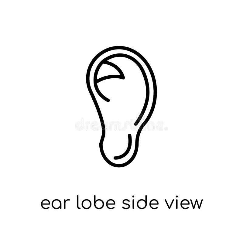 Het zijaanzichtpictogram van de oorkwab In modern vlak lineair vectoroor lo vector illustratie