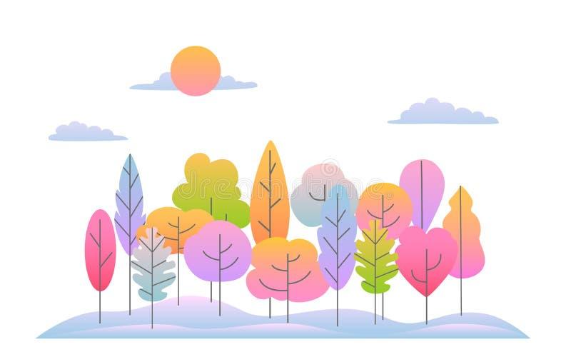Het zijlandschap van het dalingsland met zachte gradiënt gekleurde abstracte bomenachtergrond vector illustratie