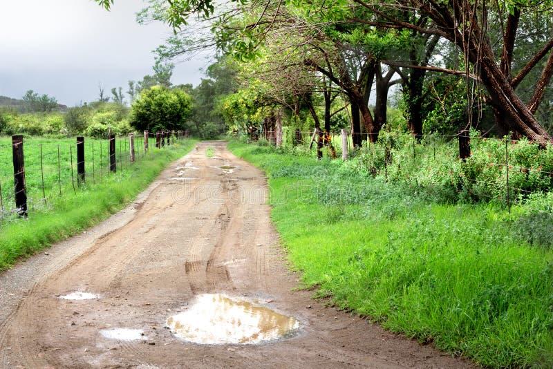 Het zijlandschap van het land met landelijke landweg na de regen stock foto's
