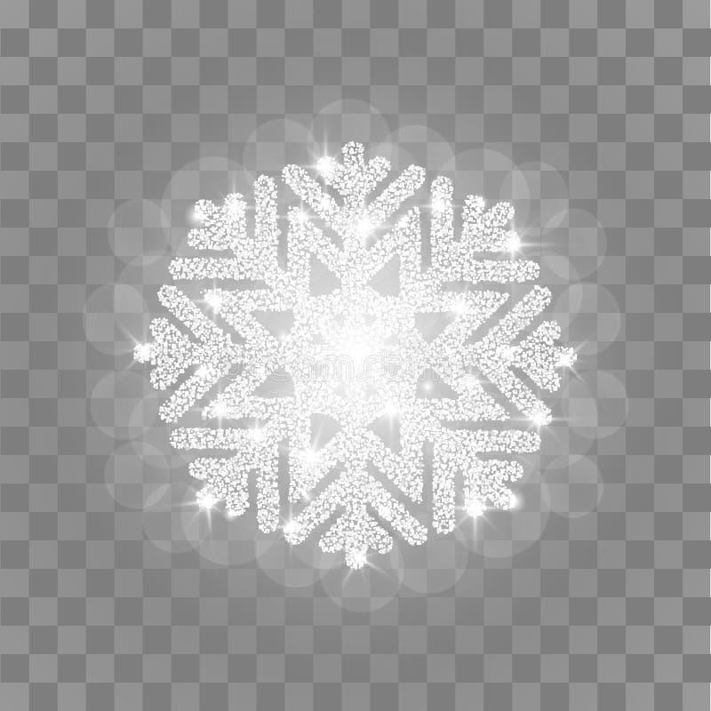 Het zilver glanst sneeuwvlok royalty-vrije illustratie