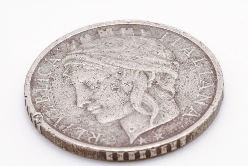 Het zilver kleurde de Italiaanse Macro van het Liremuntstuk royalty-vrije stock foto