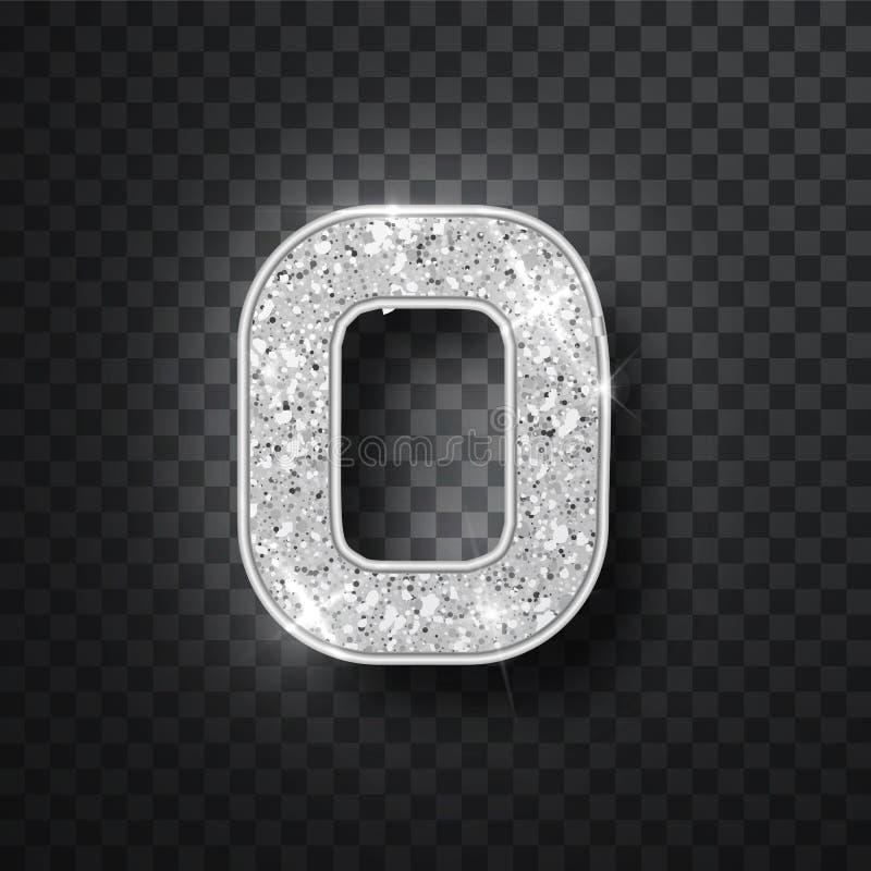 Het zilver schittert alfabetnummer 0 met schaduw Vectorrealistick glanzende zilveren doopvont nummer nul van fonkelingen op zwart vector illustratie