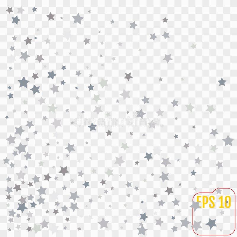Het zilver schittert dalende sterren Zilveren fonkelingsster op transparant stock fotografie