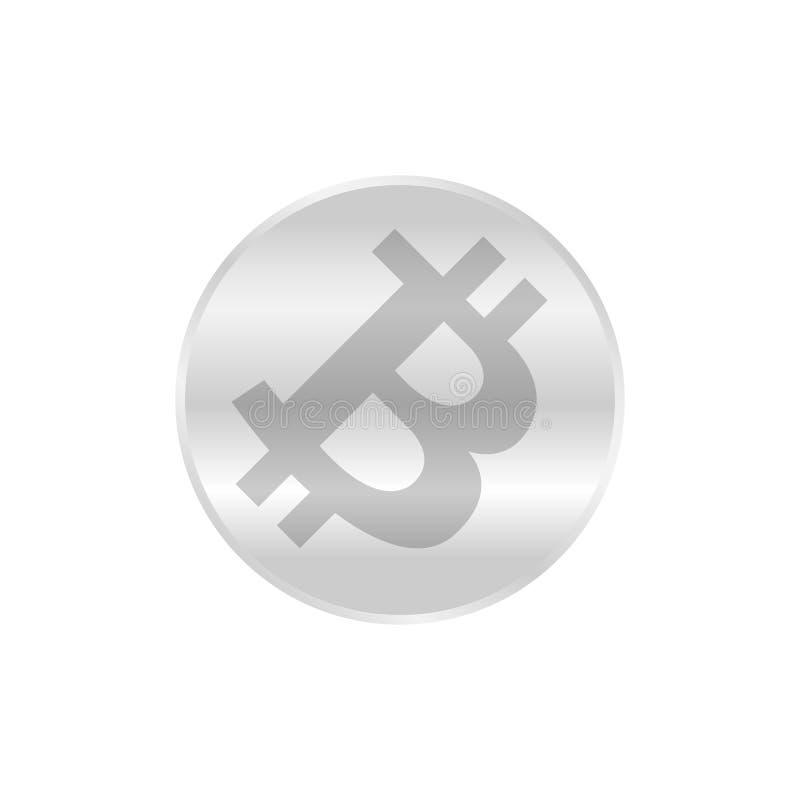 Het zilver van het Bitcoinpictogram, het zilveren symbool van het cryptocurrency bitcoin muntstuk, embleem bitcoin munt zilveren  royalty-vrije illustratie