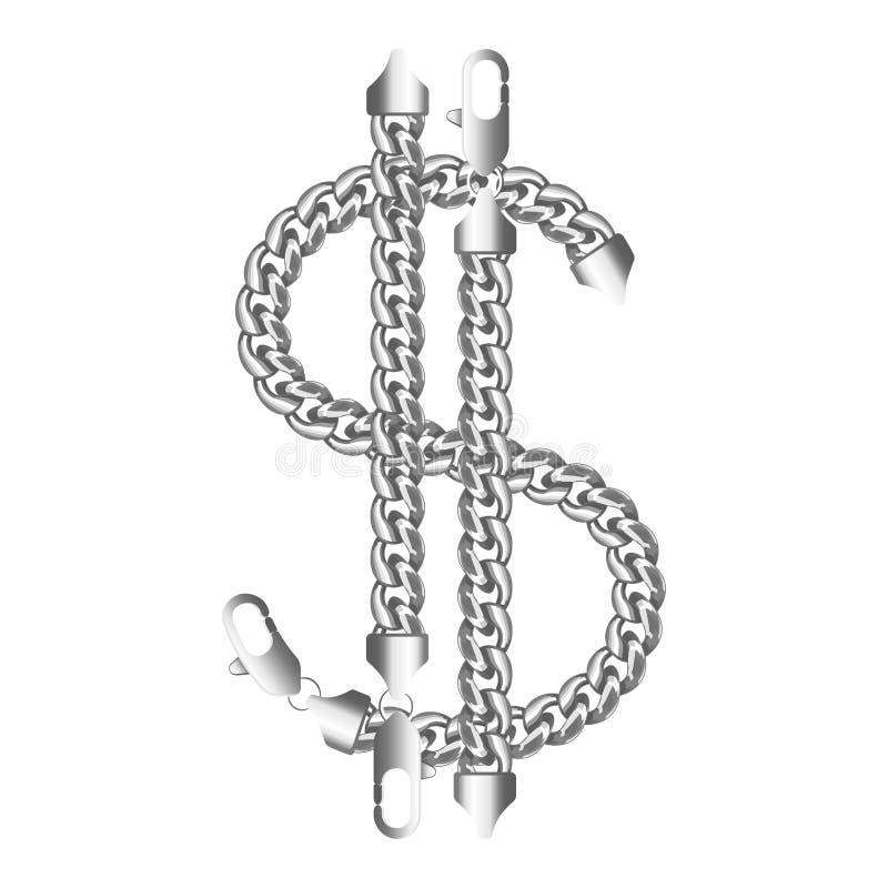 Het zilveren Amerikaanse teken van het dollargeld vector illustratie