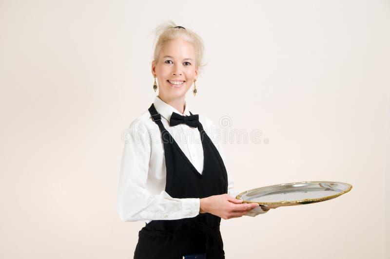 Het Zilveren Dienblad van de serveerster stock foto's