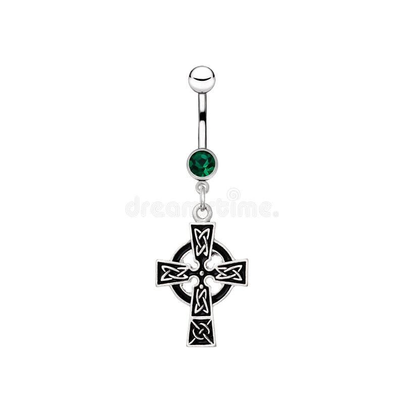 Het zilveren doordringen in de vorm van Keltisch kruis stock afbeelding
