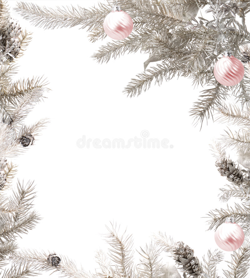 Het zilveren frame van Kerstmis met roze snuisterijen stock afbeelding