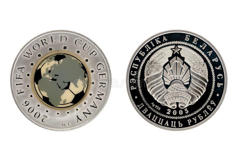 Het zilveren kampioenschap van de muntstuk biathlon wereld stock afbeeldingen