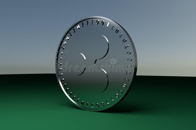 Het zilveren muntstuk met het symbool van de digitale crypto muntrimpeling denkt na stock illustratie