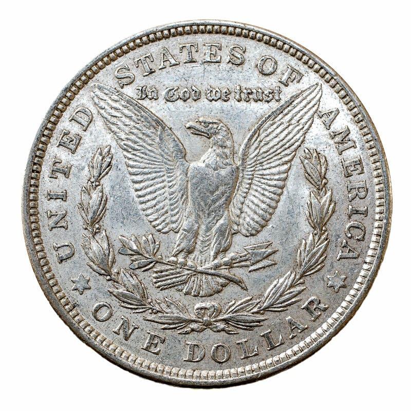 Het zilveren muntstuk van Morgan Dollar stock afbeeldingen