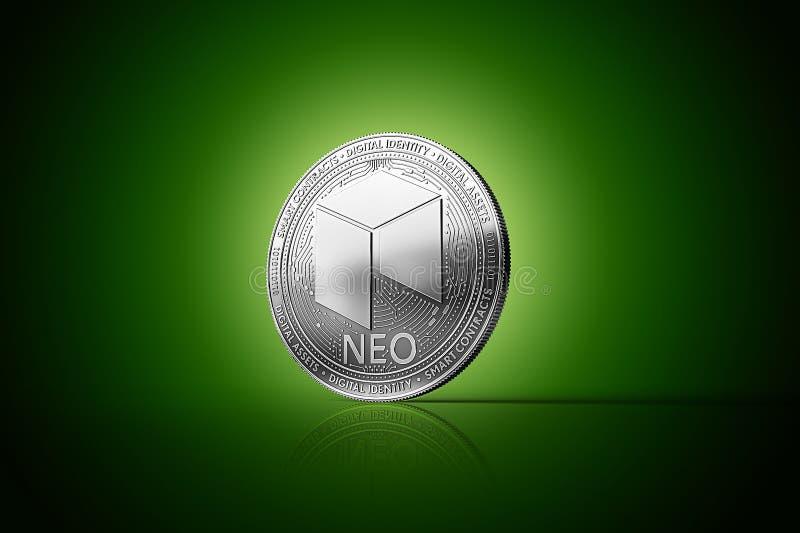 Het zilveren NEOmuntstuk van het cryptocurrency fysieke concept op zacht aangestoken groene achtergrond royalty-vrije illustratie
