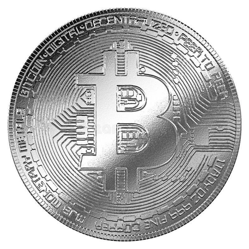 Het zilveren symbool bitcoincryptocurrency geïsoleerde achtergrond van Internet royalty-vrije illustratie