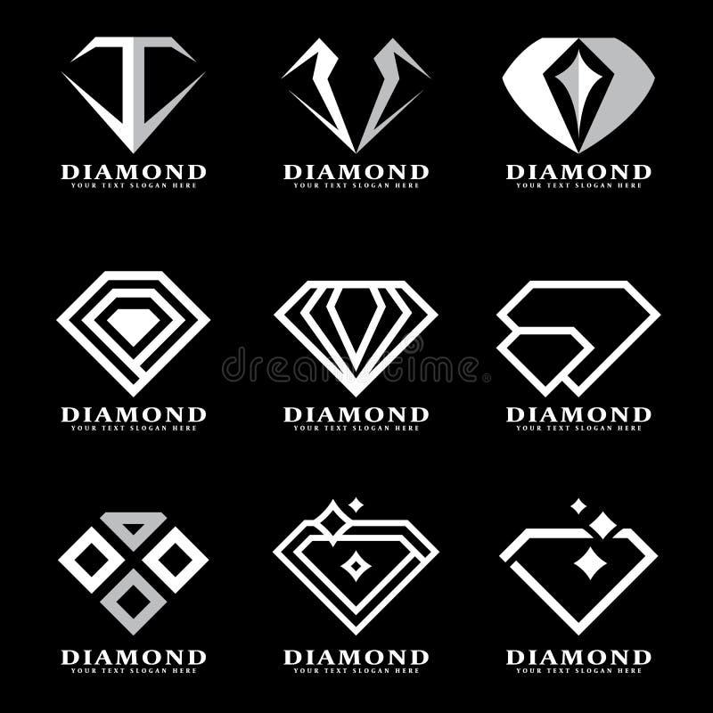 Het zilveren teken van het Diamantembleem op zwart achtergrond vectorillustratie vastgesteld ontwerp royalty-vrije illustratie