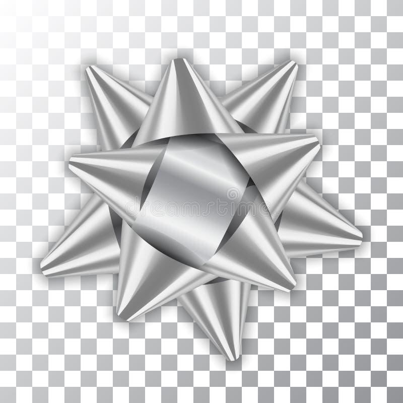 Het zilveren van het het decorelement van het booglint 3d van de het pakket Glanzende kleur van de het satijndecoratie de gifthed vector illustratie