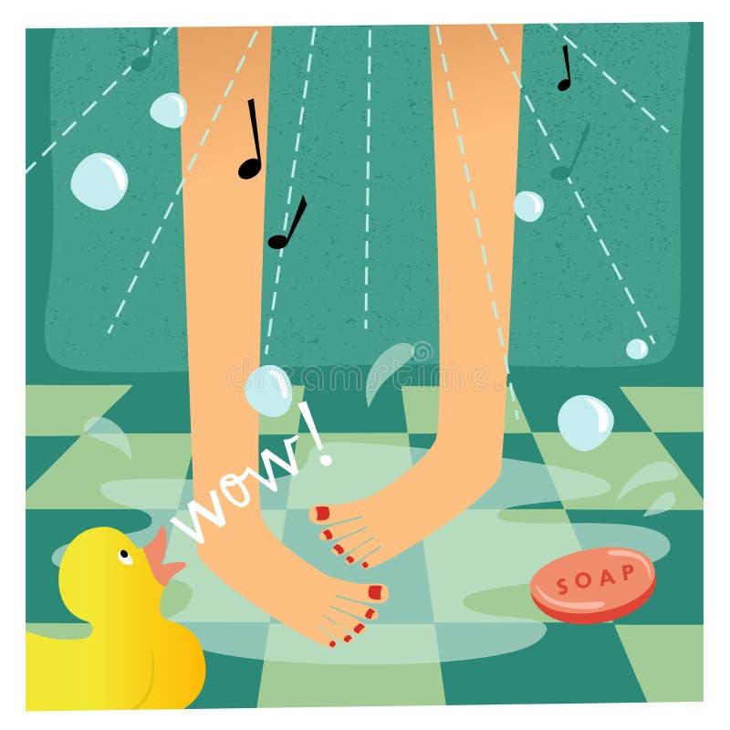 Download Het zingen in de douche vector illustratie. Illustratie bestaande uit clean - 29507620