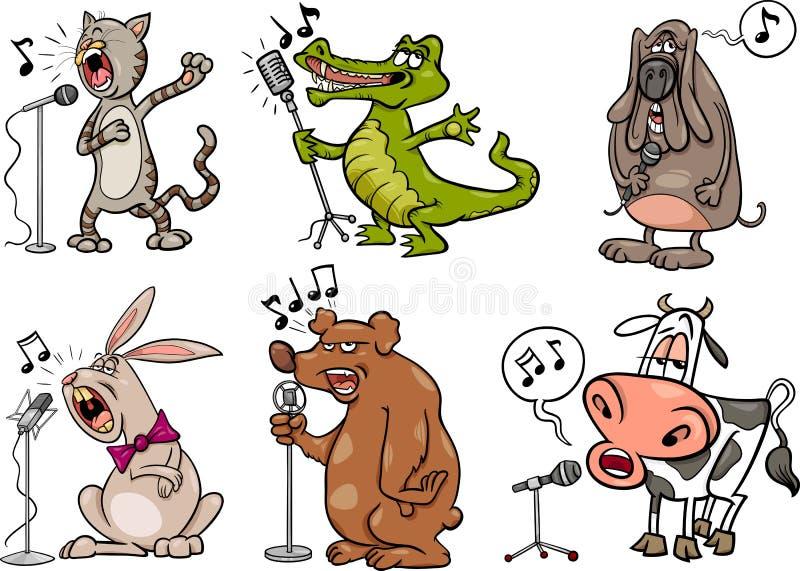 Het zingen dieren geplaatst beeldverhaalillustratie vector illustratie