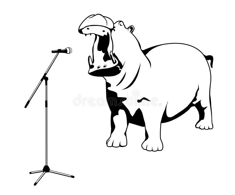 Het zingen hippo royalty-vrije illustratie