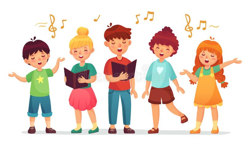 Het zingen Jonge geitjes De muziekschool, de jong geitje vocale groep en het kinderenkoor zingen beeldverhaal vectorillustratie stock illustratie
