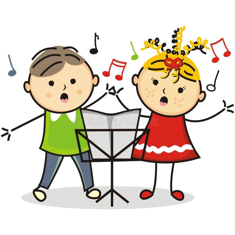 Het zingen jonge geitjes en muziektribune royalty-vrije illustratie