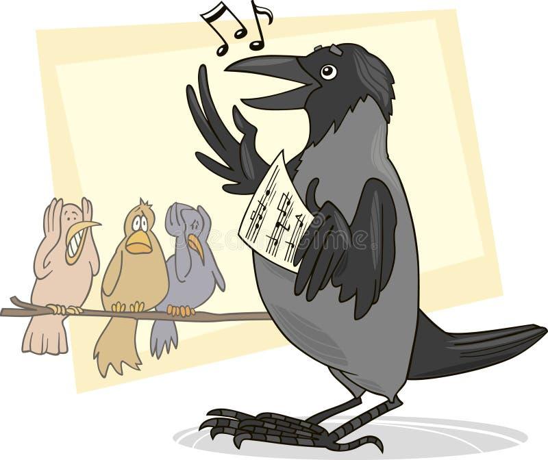 Het zingen kraai royalty-vrije illustratie