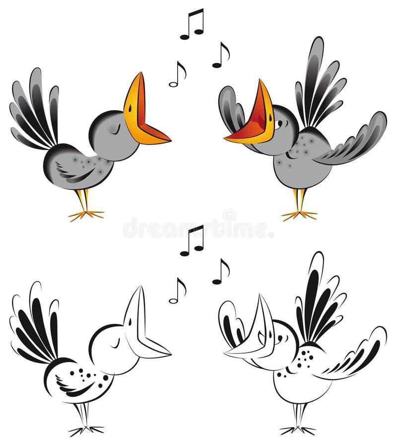 Het zingen kraaien royalty-vrije illustratie