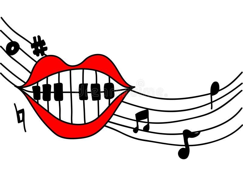 Het zingen van de mond muziek royalty-vrije illustratie