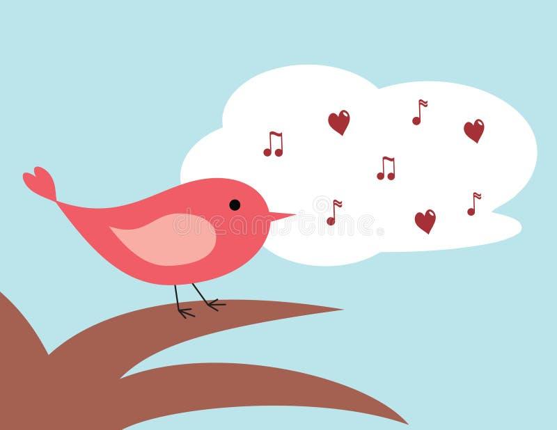 Het zingen van de vogel vector illustratie