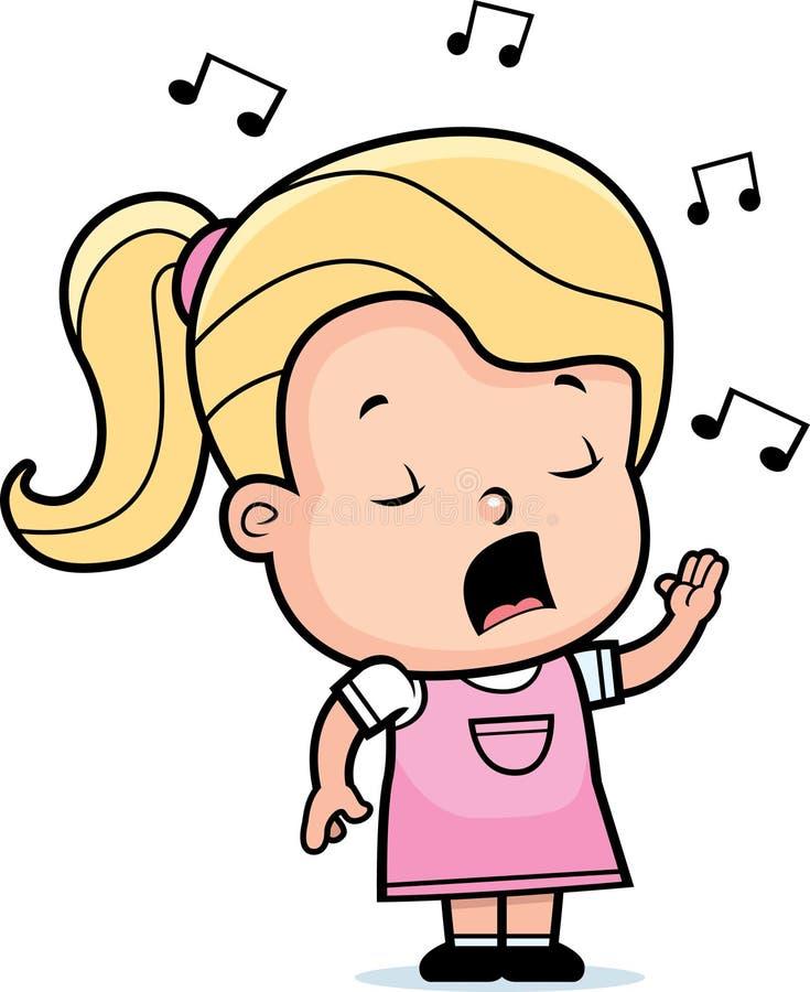 Het Zingen van het meisje vector illustratie. Illustratie ...