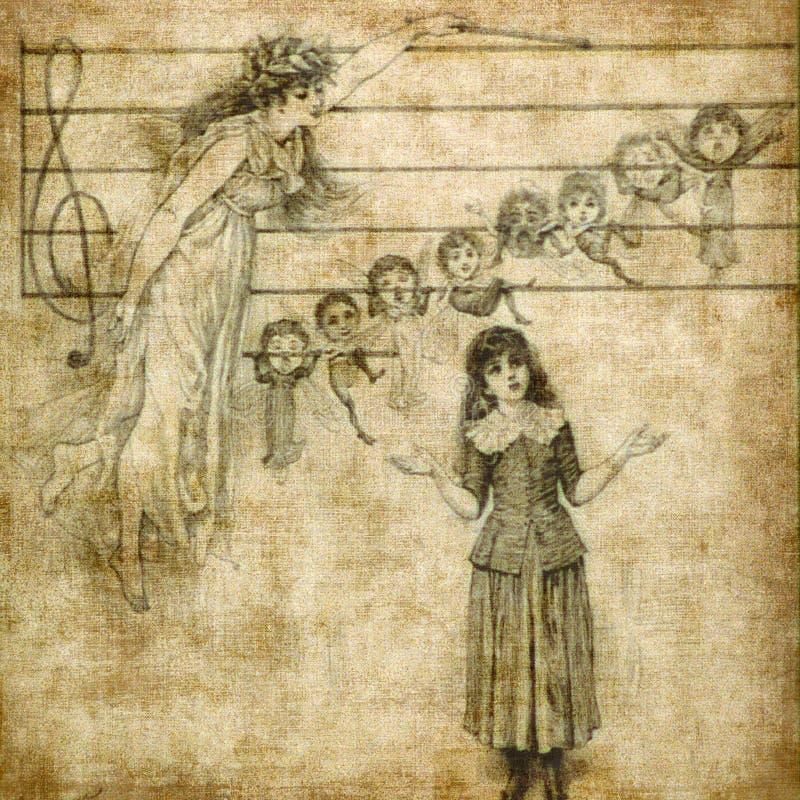 Het zingen van het meisje met engel stock illustratie