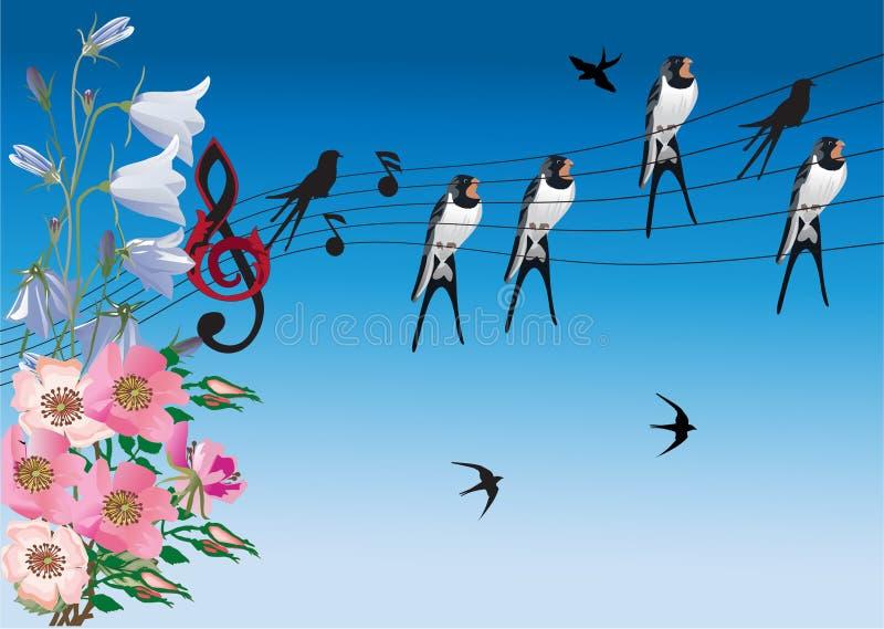 Het zingen vogels en bloemenillustratie stock illustratie
