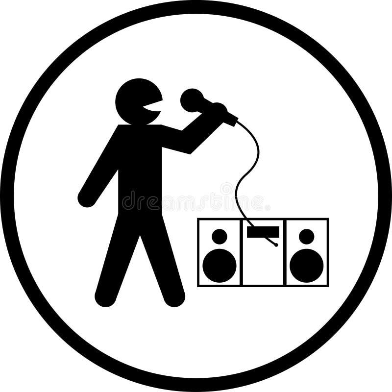 Het zingende symbool van de karaoke vector illustratie