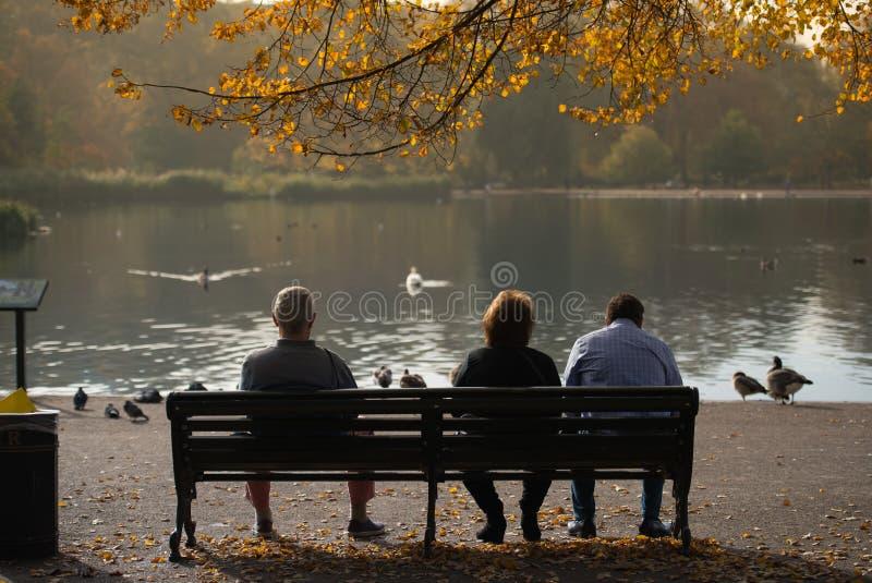 Het zitten op een bank en het genieten van een van zonnige dag in Hyde Park, Londen royalty-vrije stock fotografie