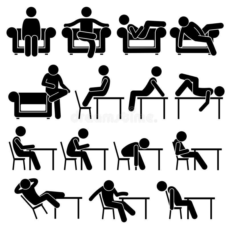 Het zitten op Sofa Couch Working Chair Lounge-Lijst stelt van de de Mensenstok van de Houdingen Menselijke Mens van het Cijfersti royalty-vrije illustratie