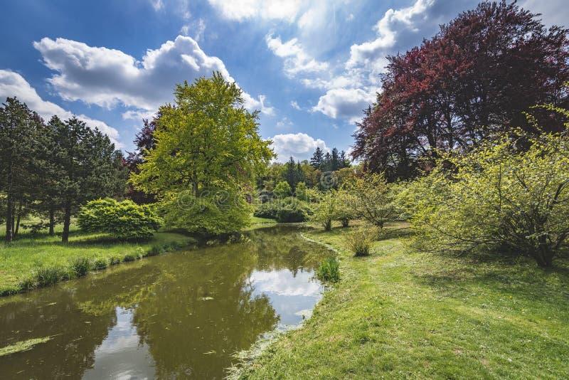 Het zitten in het park in de Tsjechische Republiek van Pruhonice Praag royalty-vrije stock foto