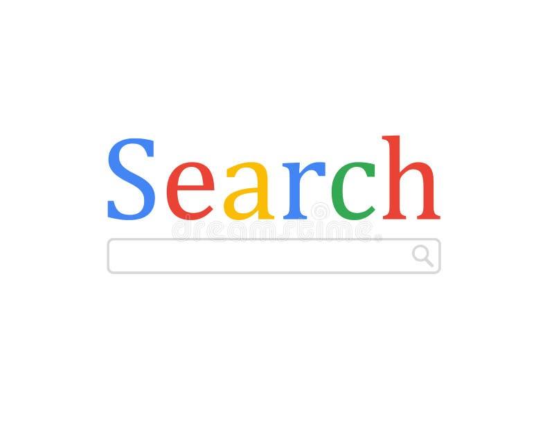 Het zoeken van concept Moderne technologieën Vectorillustratie vlak ontwerp Geïsoleerdj op witte achtergrond Zoek  stock illustratie