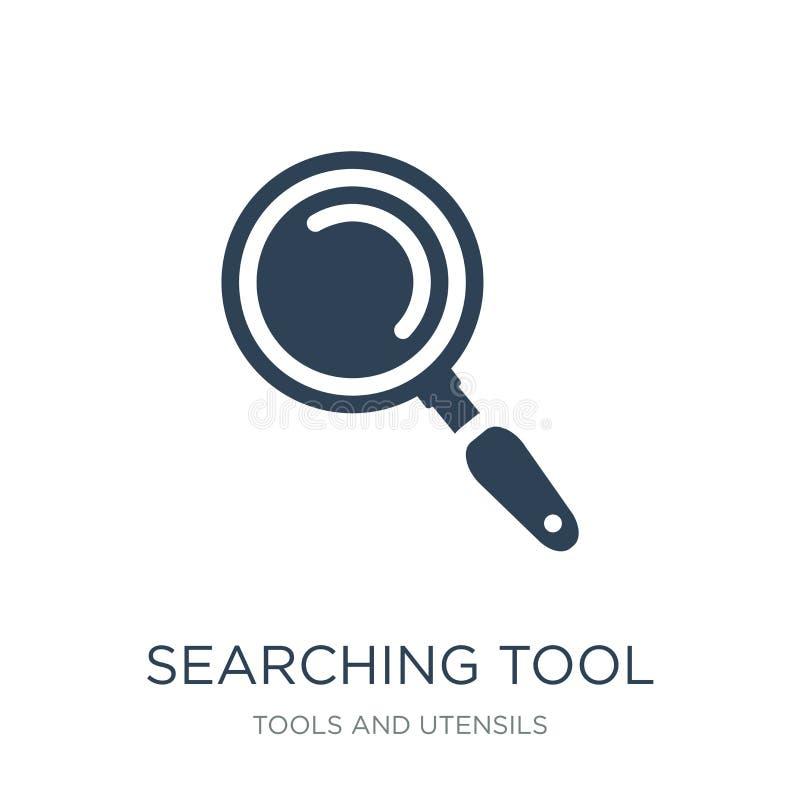 het zoeken van hulpmiddelpictogram in in ontwerpstijl zoekend hulpmiddelpictogram op witte achtergrond wordt geïsoleerd die zoeke vector illustratie