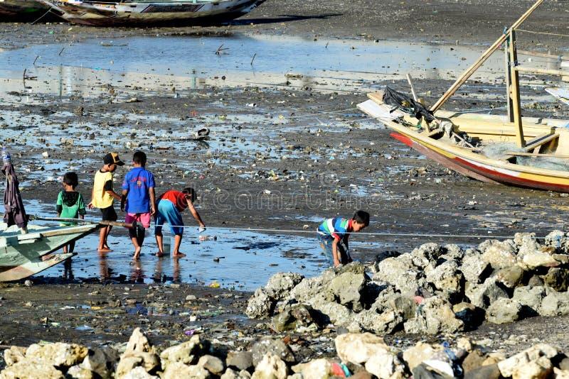 Het zoeken van kinderen tweekleppige schelpdieren dichtbij Suramadu stock afbeeldingen
